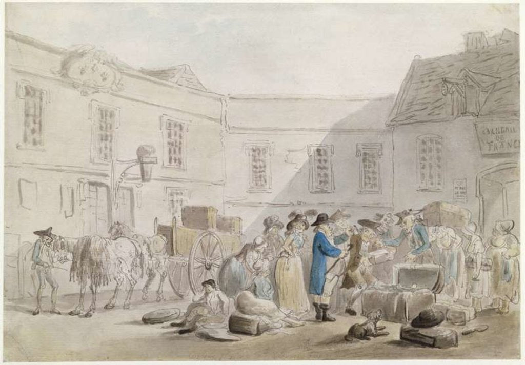 Detail of The Customs House at Boulogne by Thomas Rowlandson
