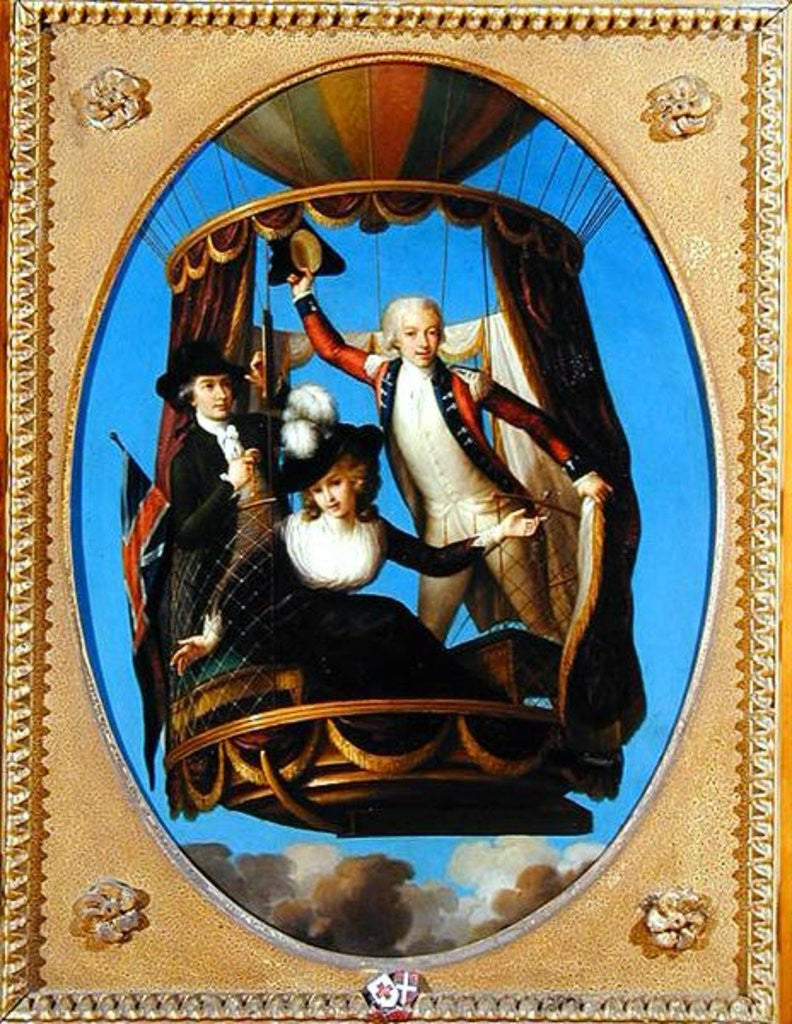 Detail of Captain Vincenzo Lunardi with his Assistant George Biggin and Mrs Letitia Anne Sage, in a Balloon by John Francis Rigaud