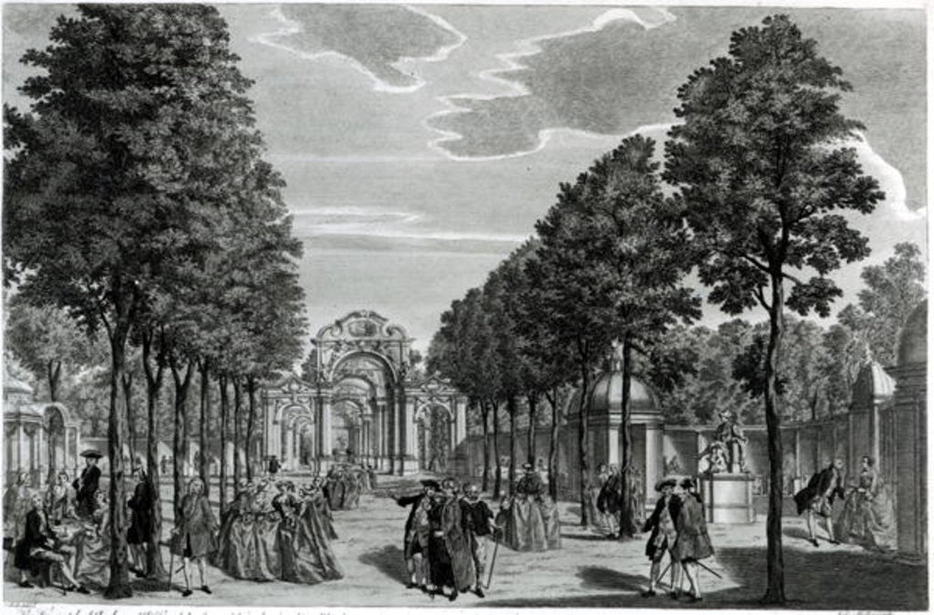 Detail of The Triumphal Arches, Handel's Statue in the South Walk of Vauxhall Gardens by Samuel Wale