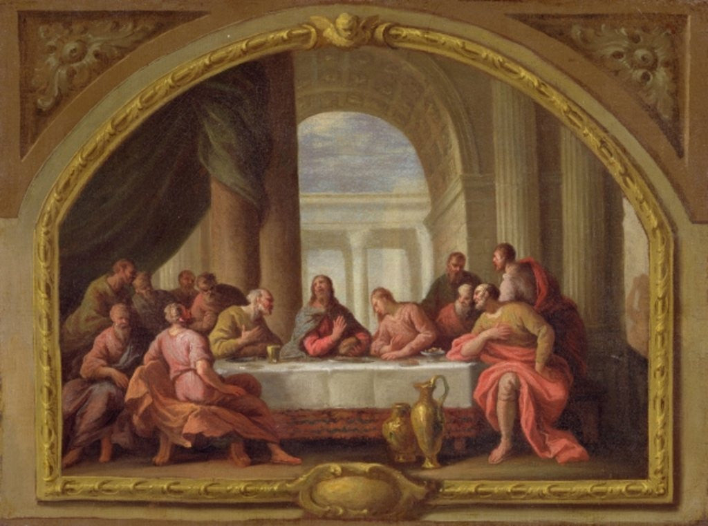 Detail of Sketch for 'The Last Supper', St. Mary's, Weymouth, formerly attributed to Antonio Verrio by Sir James Thornhill