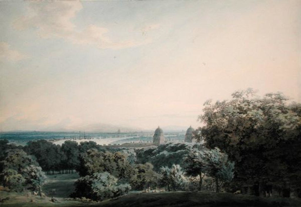 Detail of London from Greenwich Hill by John Robert Cozens