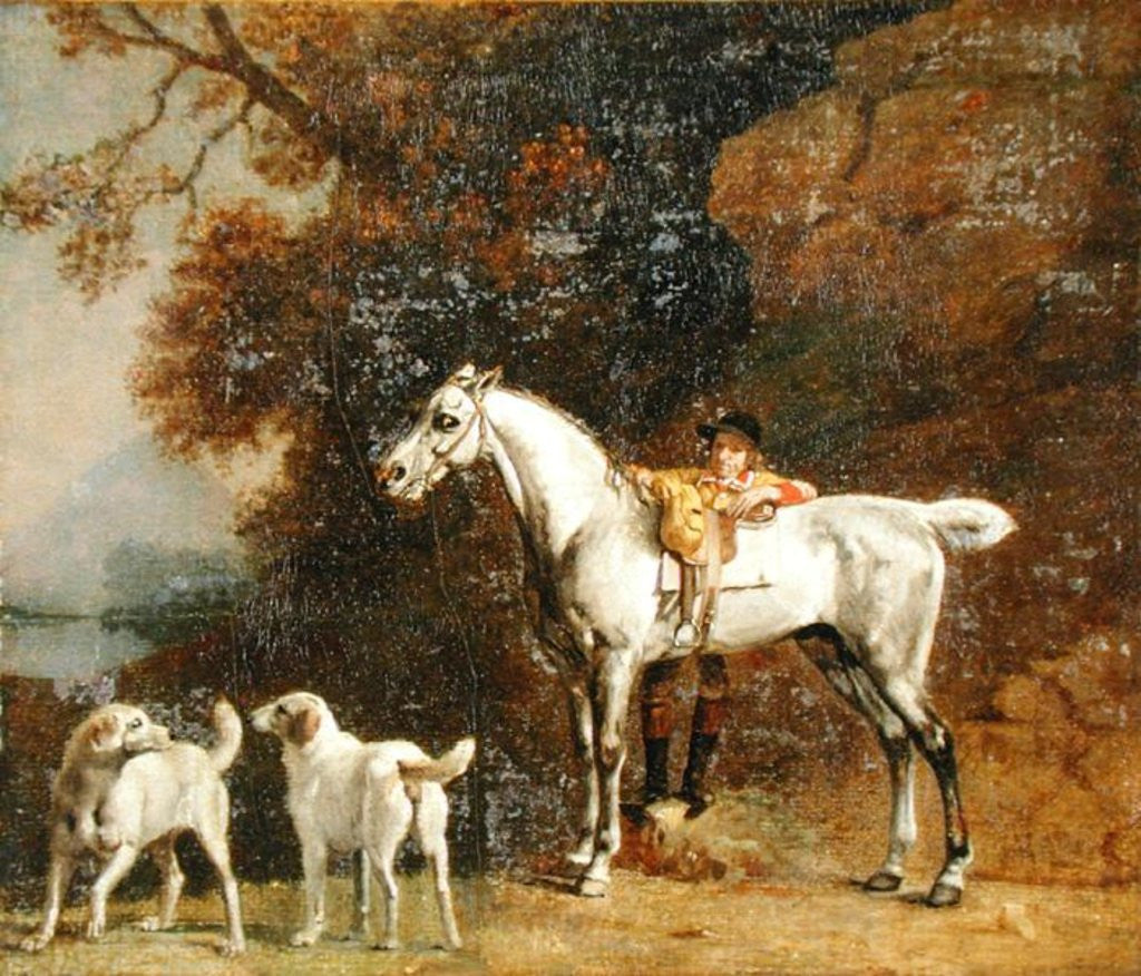 Detail of Huntsman with a Grey Hunter and Two Foxhounds by George Stubbs