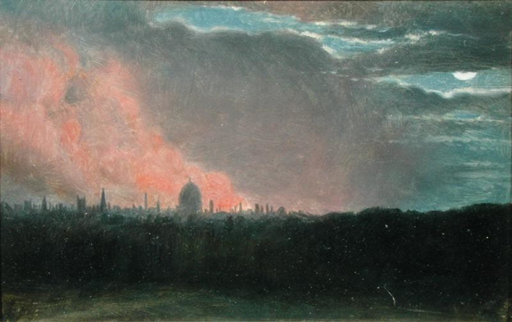 Detail of Fire in London seen from Hampstead by John Constable