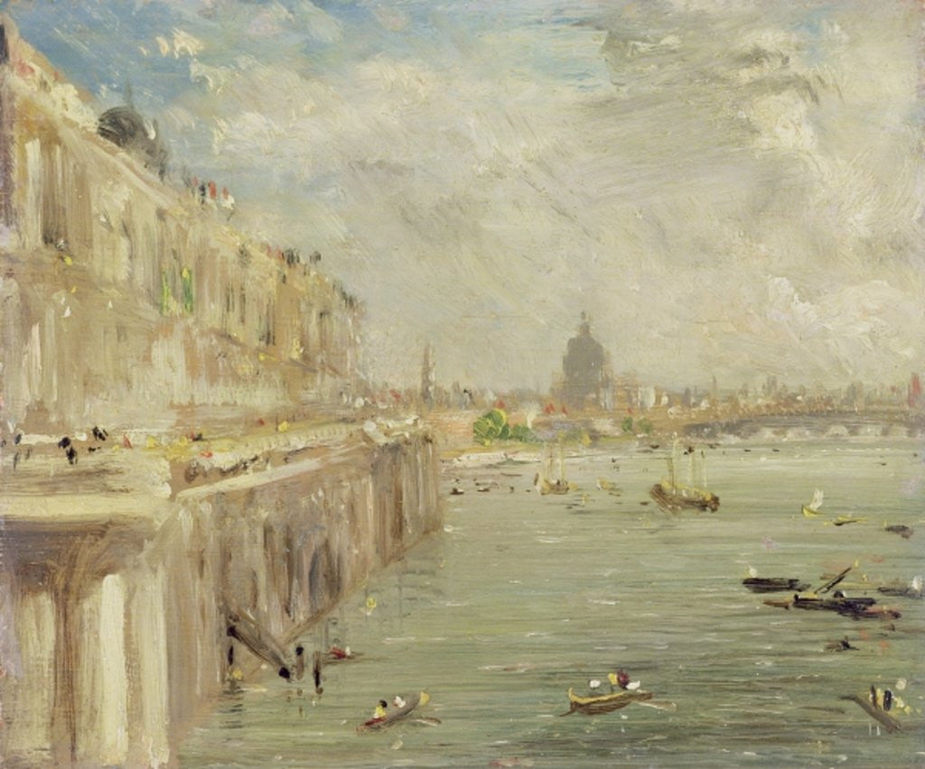 Detail of View of Somerset House Terrace and St. Paul's by John Constable
