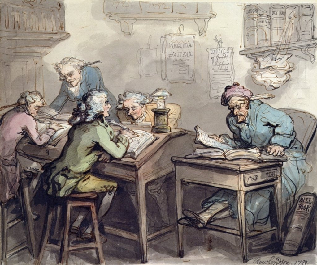 Detail of A Merchant's Office by Thomas Rowlandson