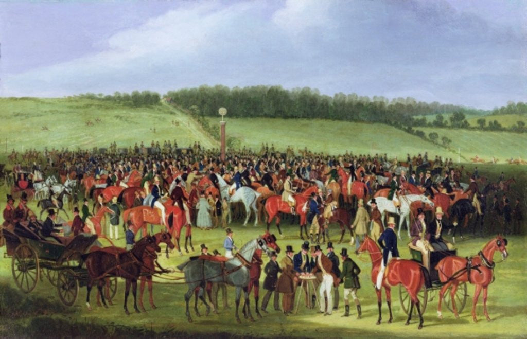Detail of Epsom Races: The Betting Post by James Pollard