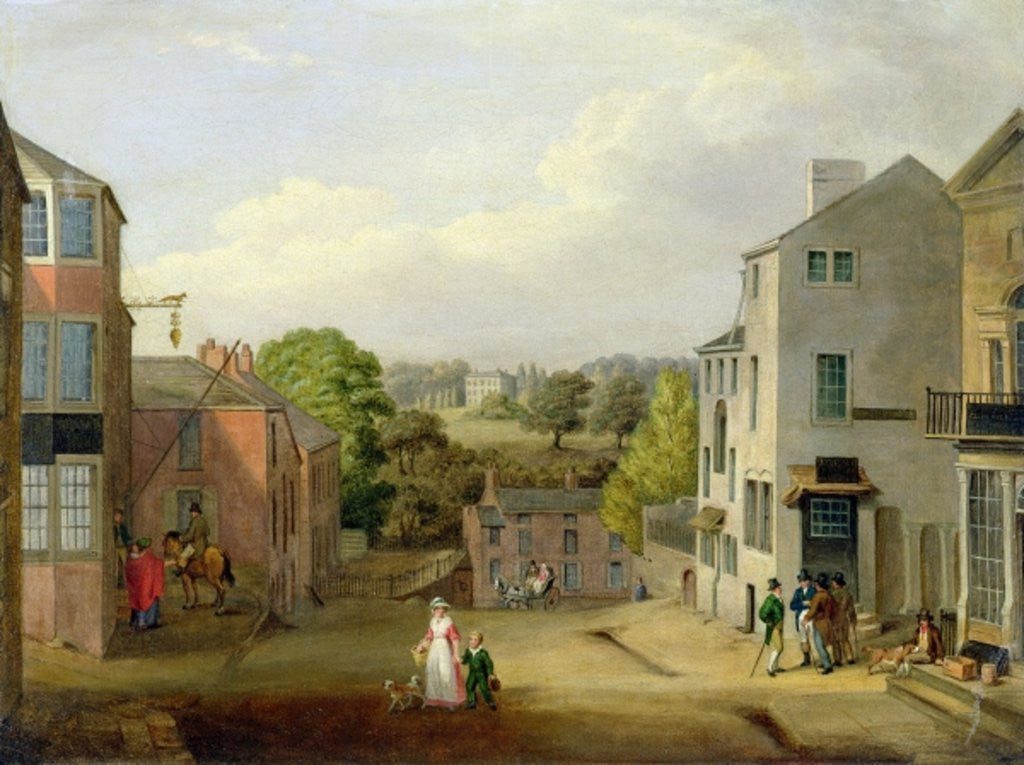 Detail of Street Scene in Chorley, Lancashire, with a View of Chorley Hall by John