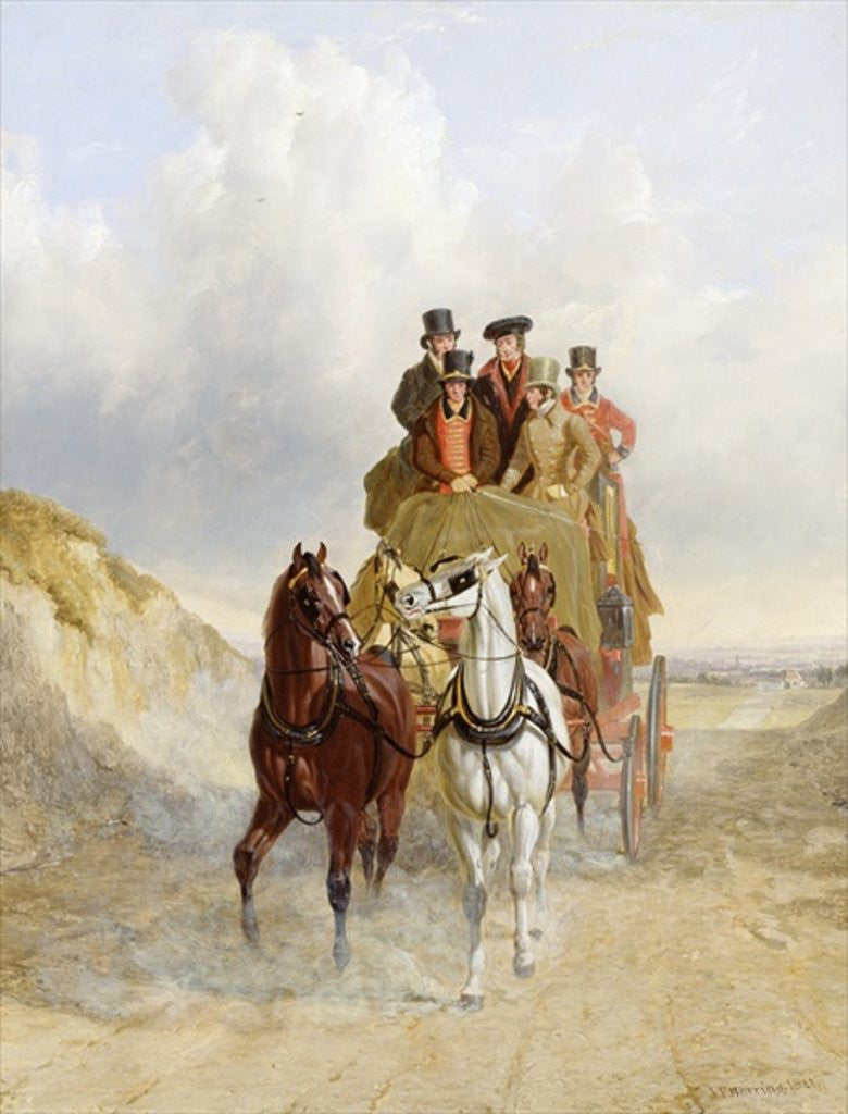 Detail of The Royal Mail Coach on the Road by John Frederick Herring Snr