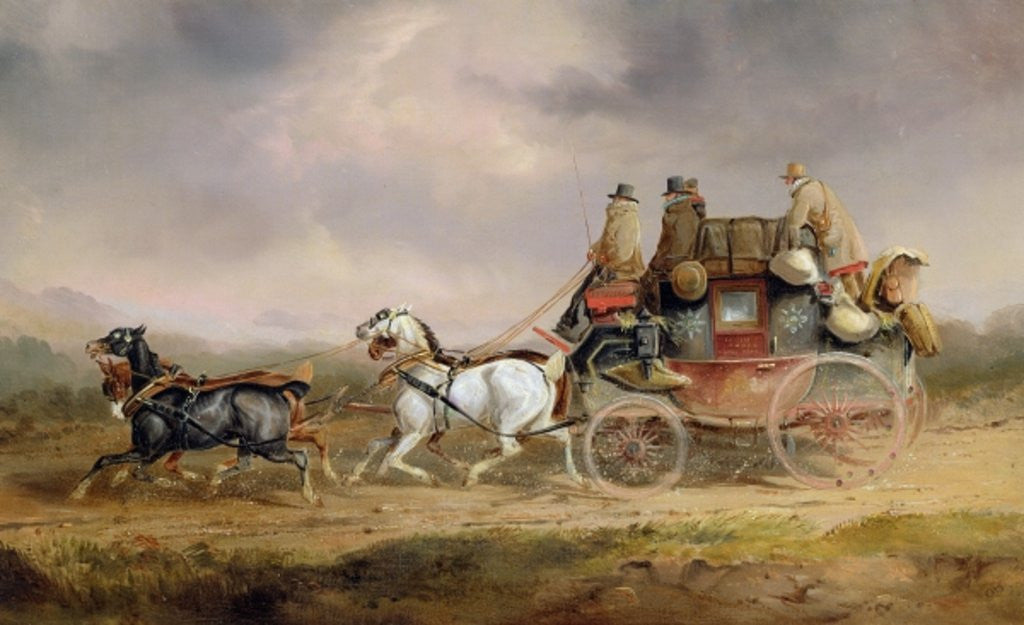 Detail of Mail Coaches on the Road: The Louth-London Royal Mail Progressing at Speed by Charles Cooper Henderson