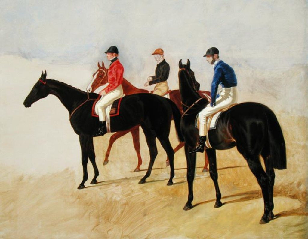 Detail of Study of Three Steeplechase Cracks: Allen McDonough on Brunette, Tom Oliver on Discount and Jem Mason on Lottery by John Frederick Herring Snr