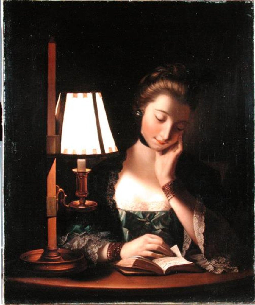 Detail of Woman Reading by a Paper-bell Shade by Henry Robert Morland