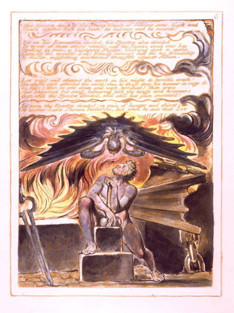 Detail of His Spectre Driv'n... by William Blake