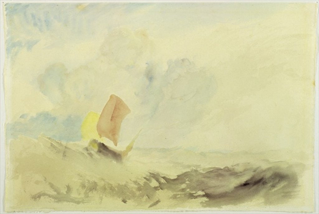 Detail of A Sea Piece - A Rough Sea with a Fishing Boat by Joseph Mallord William Turner