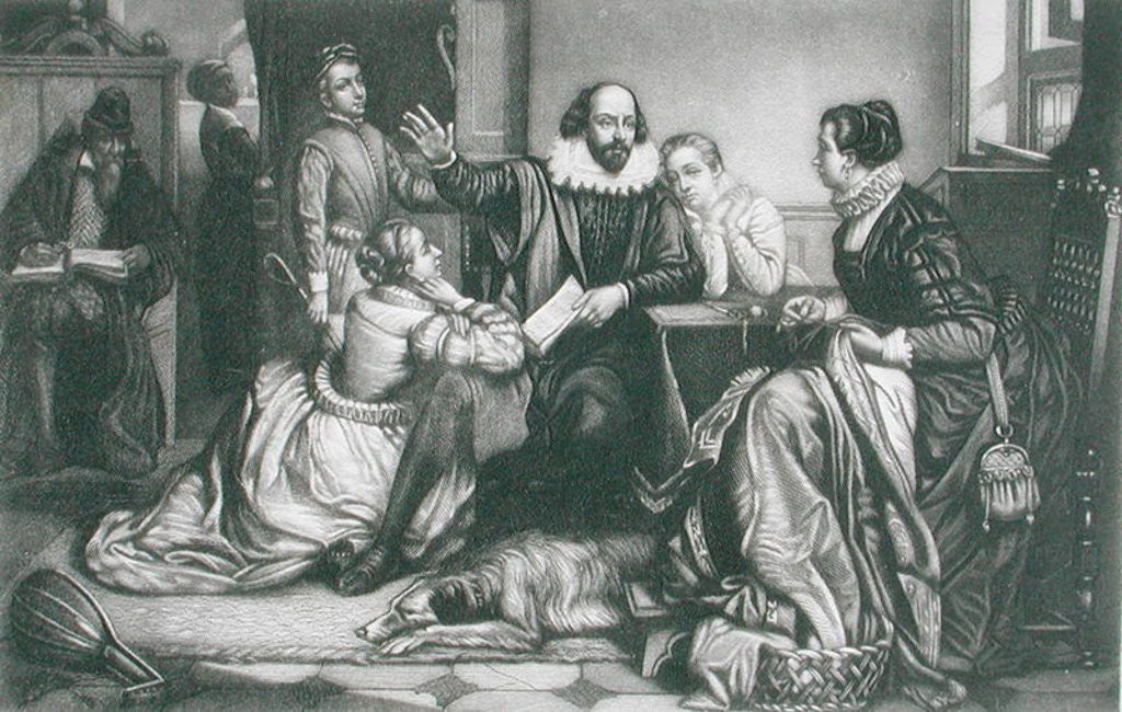 Detail of Shakespeare with his Family, at Stratford, Reciting the Tragedy Hamlet by Edouard Jean Conrad Hamman