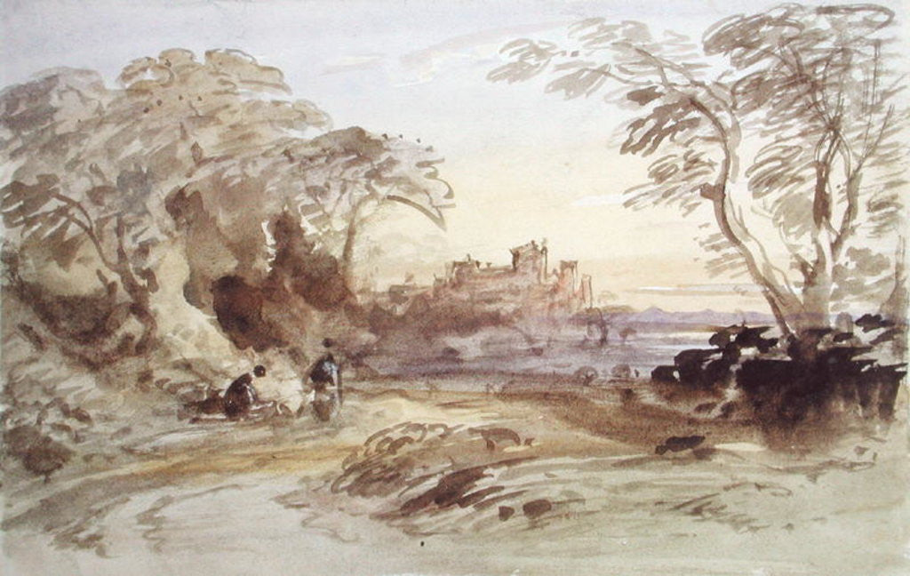 Detail of Landscape with Figures and Distant Castle by John Varley