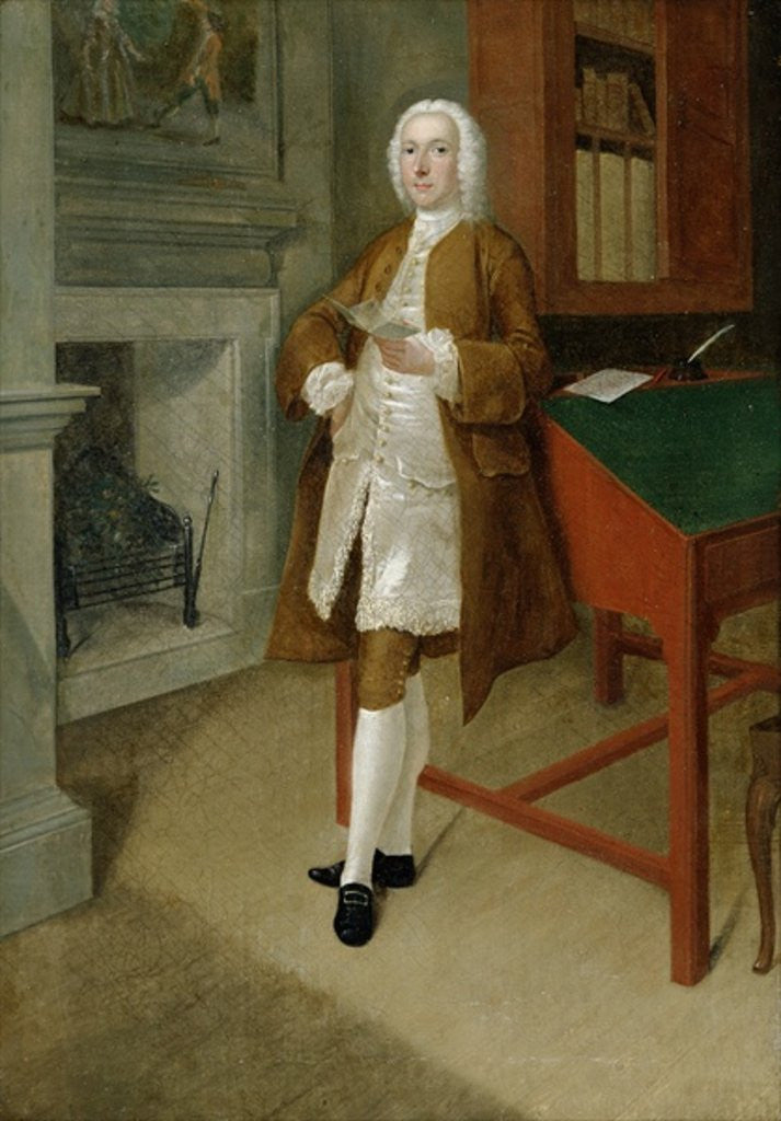 Detail of An Unknown Man in a Library by Anthony Devis