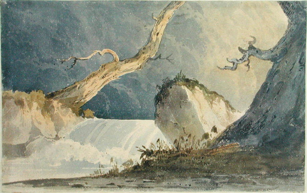 Detail of Waterfall in a Desolate Landscape by John Sell Cotman