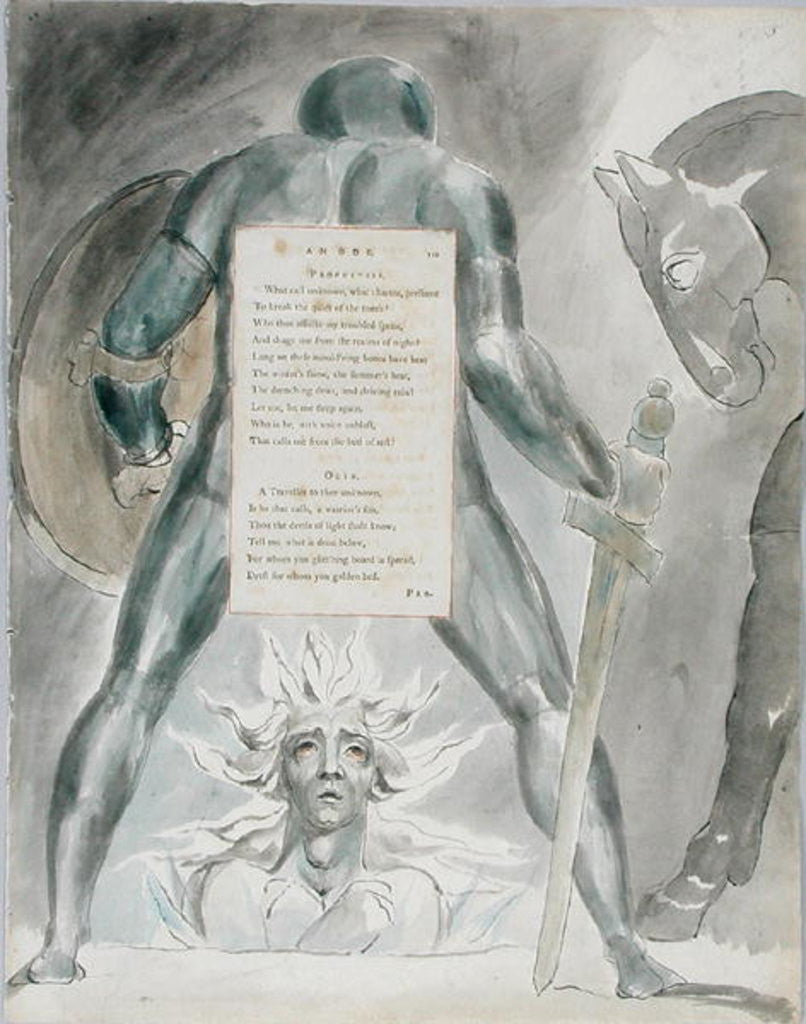 Detail of 'The Descent of Odin' by William Blake