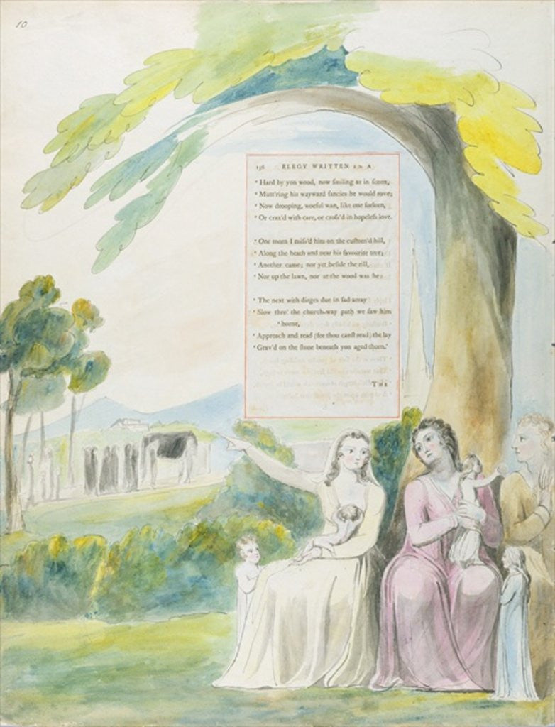 Detail of 'Elegy written in a Country Church-Yard', design 114 from 'The Poems of Thomas Gray' by William Blake