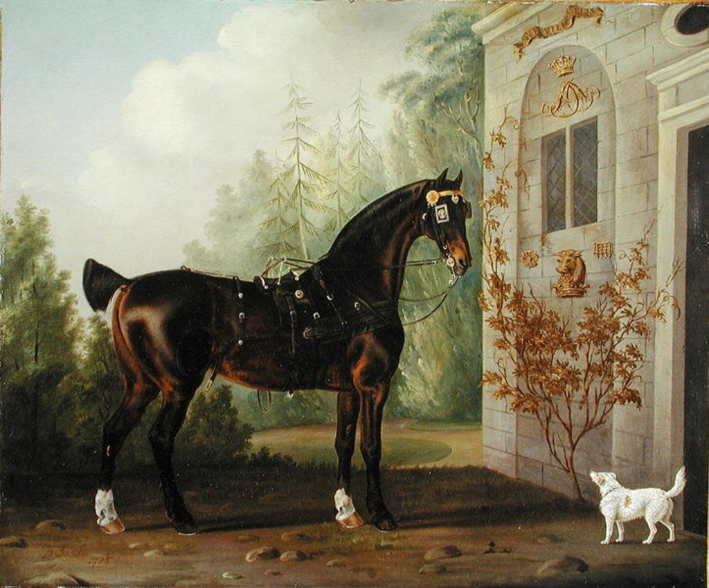 Detail of Lord Abergavenny's Dark Bay Carriage Horse with a Terrier by Thomas Gooch