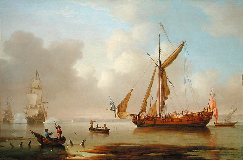 Detail of Royal Yacht becalmed at Anchor by Peter Monamy