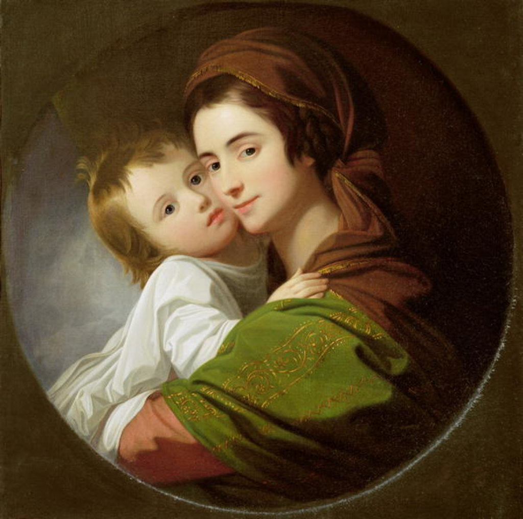 Detail of The Artist's Wife, Elizabeth, and their son Raphael by Benjamin West
