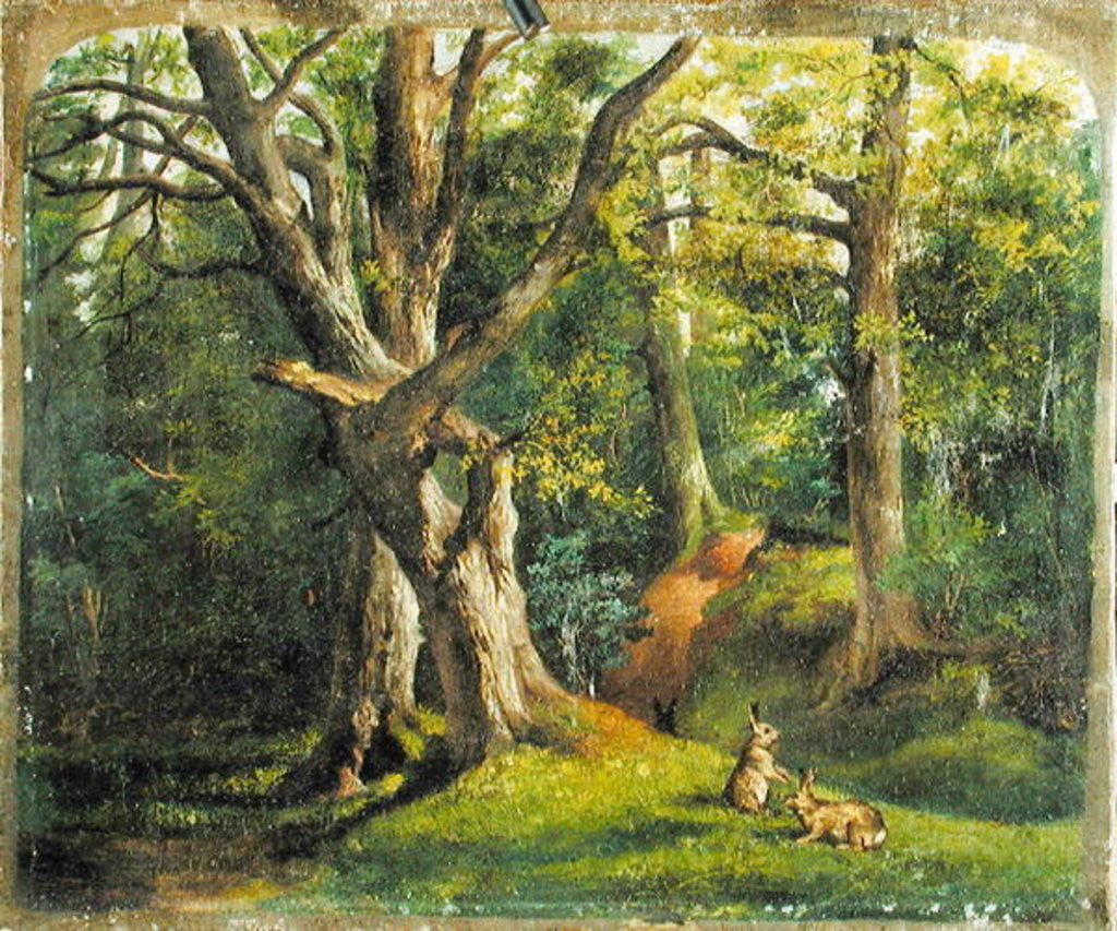Detail of Woodland Scene with Rabbits by Sir Hubert von Herkomer