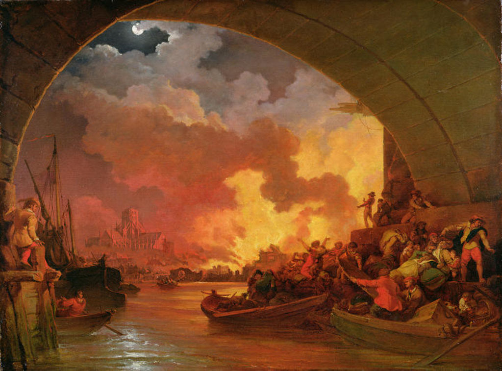 Detail of The Great Fire of London by Philip James de Loutherbourg