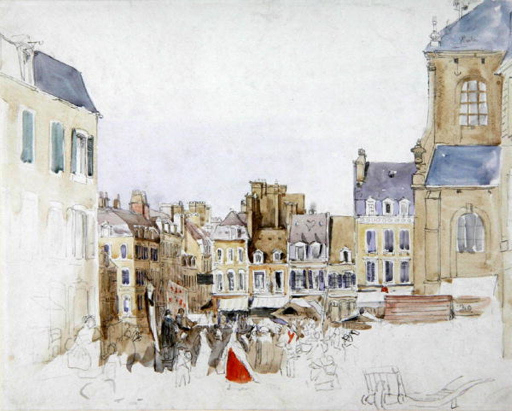 Detail of A French Market Place by David Cox