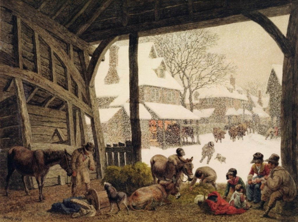 Detail of A Village Snow Scene by Robert Hills