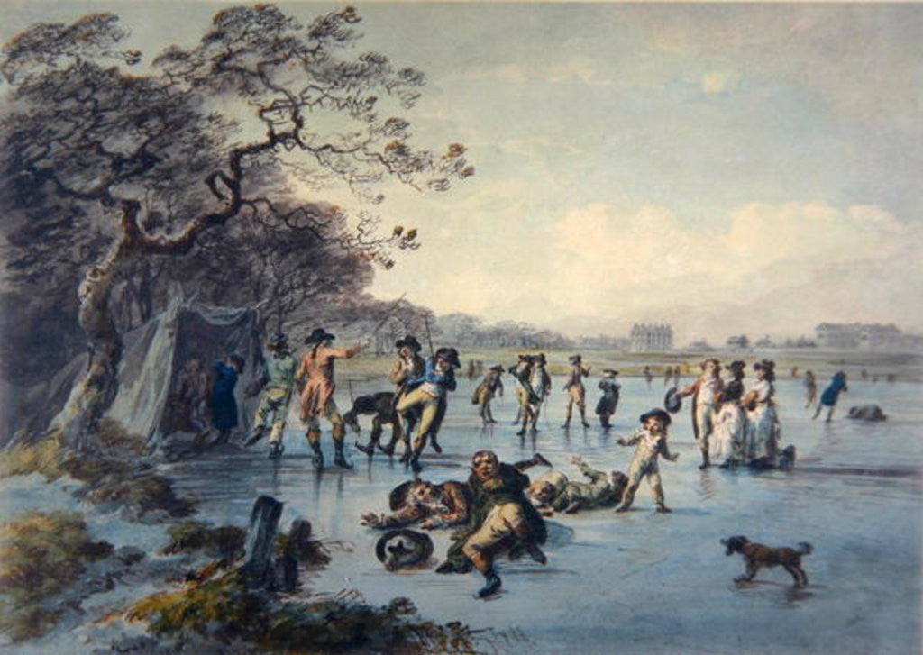 Detail of Skating in Hyde Park by Julius Caesar Ibbetson
