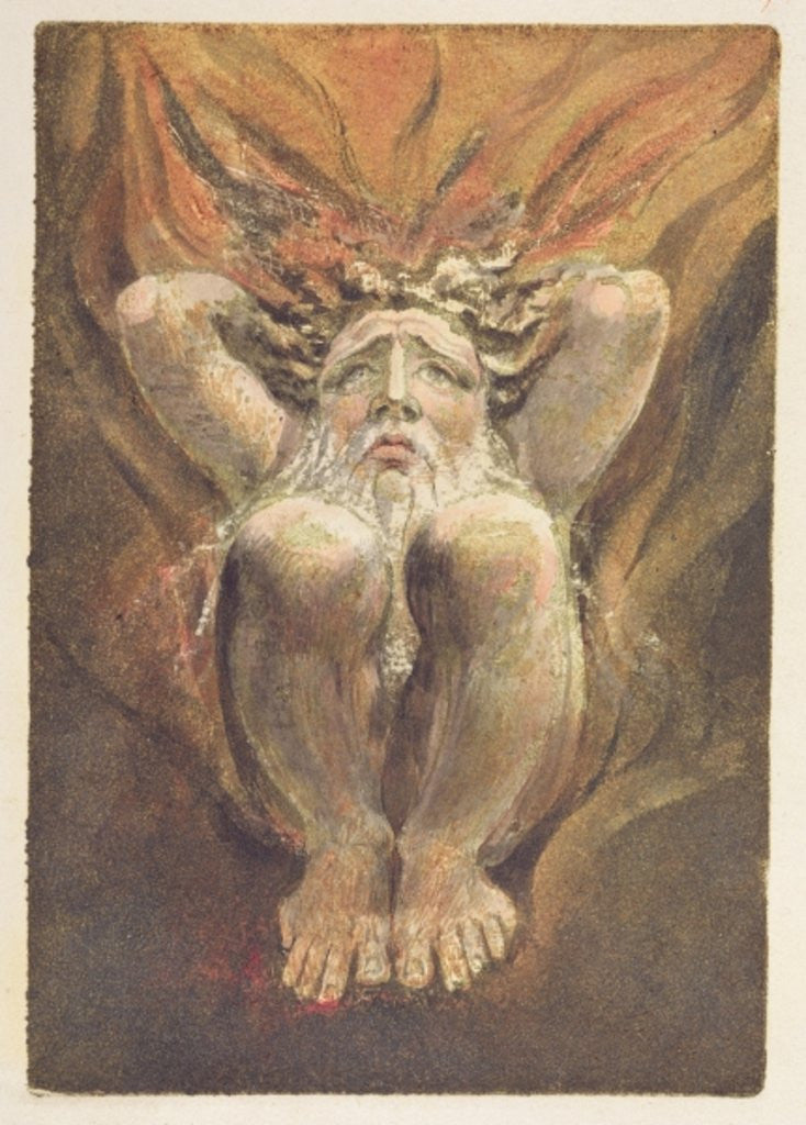 Detail of A naked man crouched in flames, with his hands behind his head by William Blake