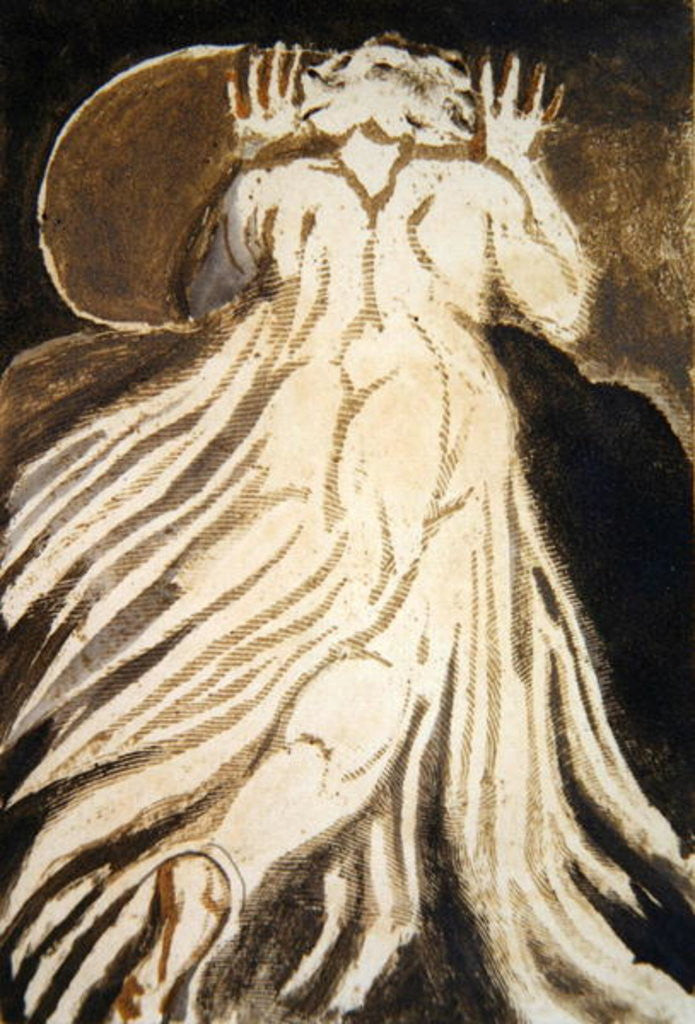 Detail of A white haired man in a long, pale robe who flees from us with his hands raised by William Blake