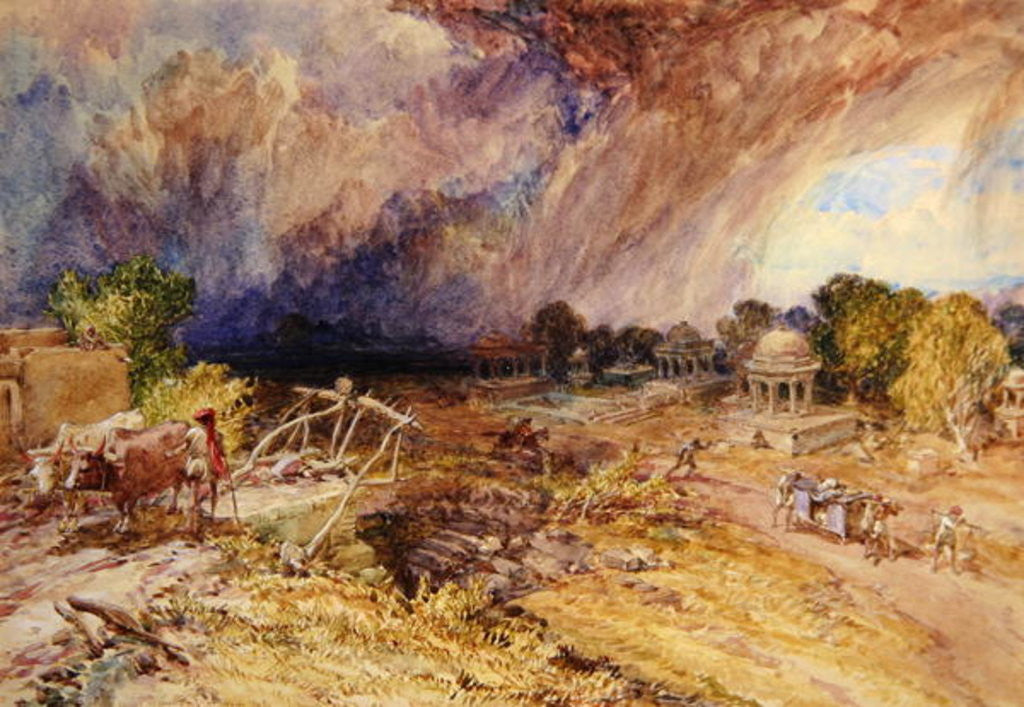 Detail of Dust Storm Coming on, near Jaipur Rajputana by William 'Crimea' Simpson