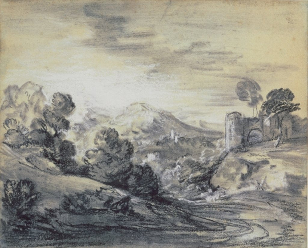 Detail of Wooded Landscape with Castle by Thomas Gainsborough