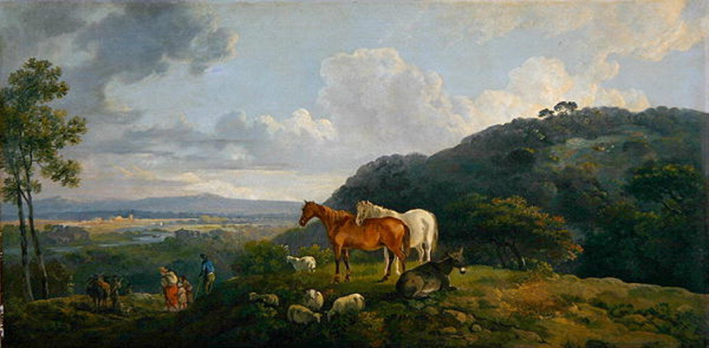 Detail of Morning: Landscape with Mares and Sheep by George the Elder Barret