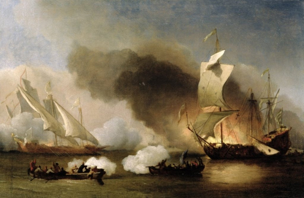 Detail of An Action off the Barbary Coast with Galleys and English Ships by Willem van de
