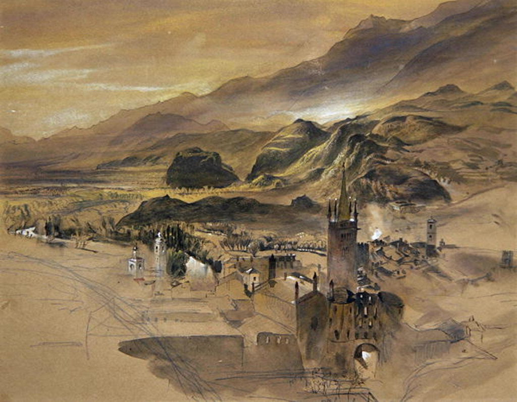 Detail of d View of Sion, Valais by John Ruskin