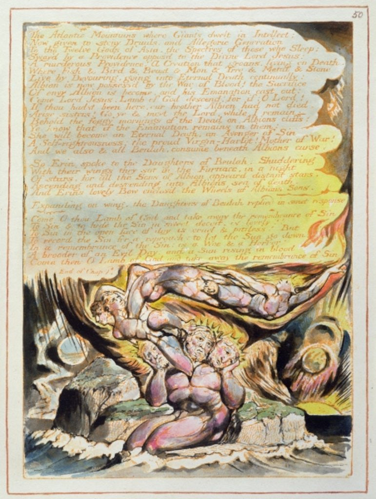 Detail of And none but Bromian can hear... by William Blake