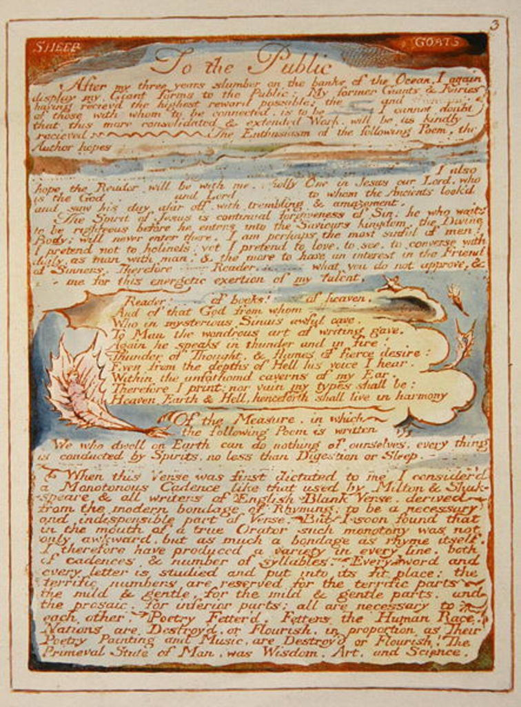 Detail of 'To the Public...' by William Blake