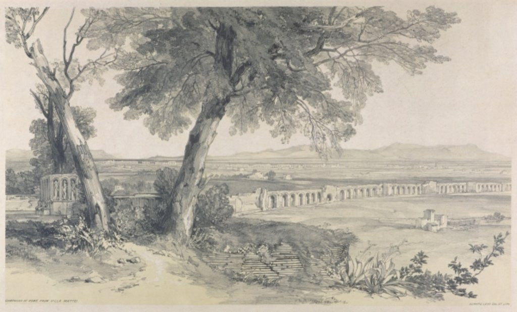 Detail of Campagna of Rome from Villa Mattei by Edward Lear