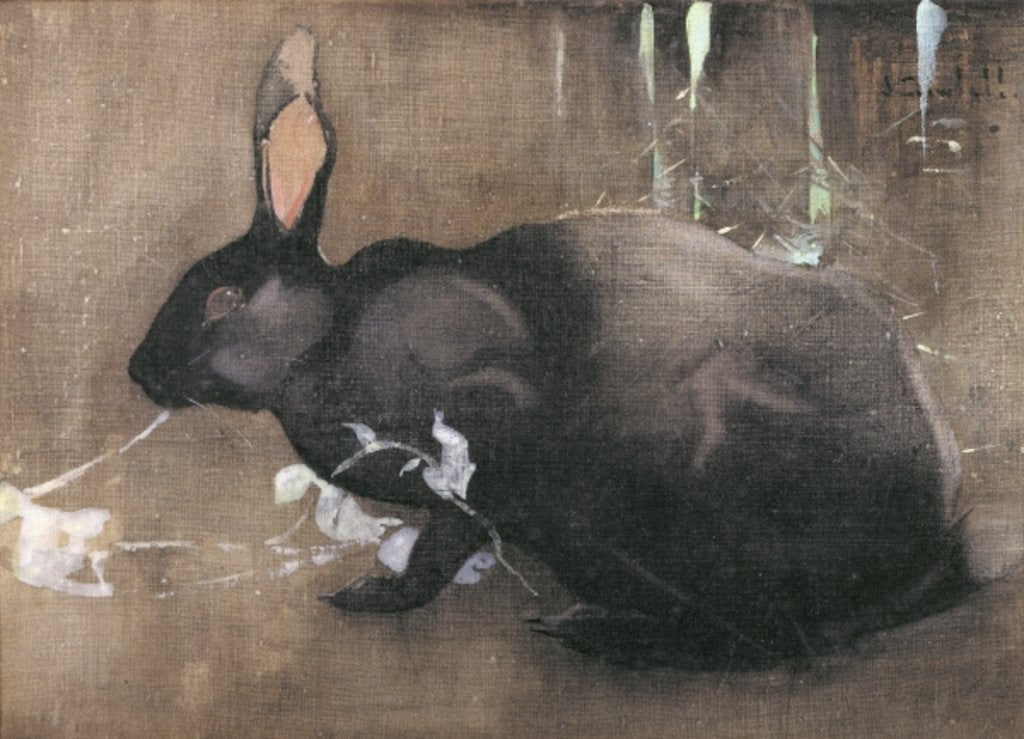 Detail of A Black Rabbit by Joseph Crawhall