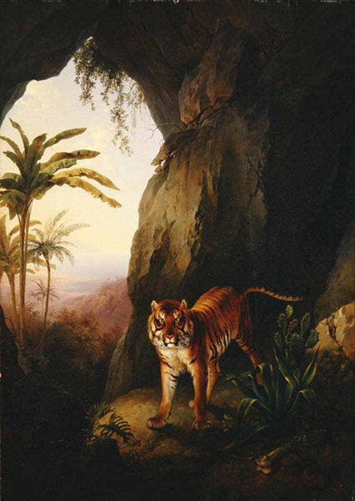 Detail of Tiger in a cave by Jacques-Laurent Agasse
