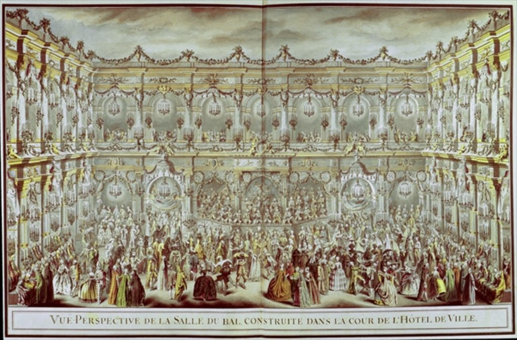 Detail of Perspective view of the ballroom constructed in the courtyard of the Hotel de Ville in Paris on the occasion of the Dauphin's first marriage to Marie-Therese Infanta of Spain by Charles Nicolas II Cochin
