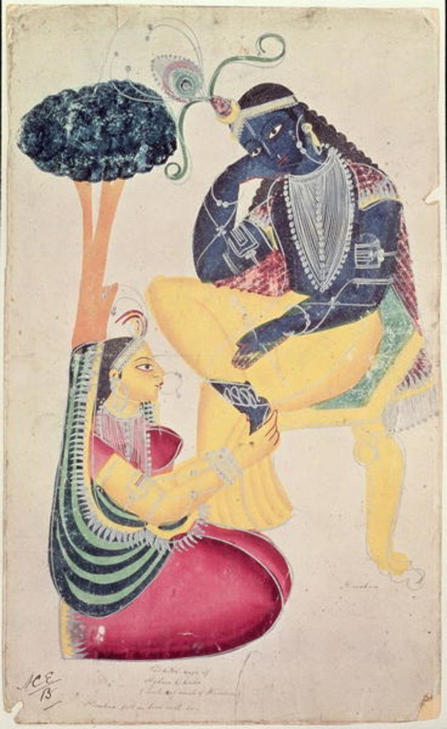 Detail of The God Krishna with his mortal love, Radha by Indian School
