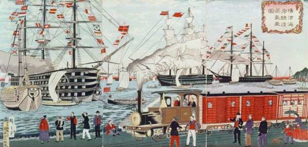 Detail of Commodore Perry's Gift of a Railway to the Japanese in 1853 by Ando or Utagawa Hiroshige