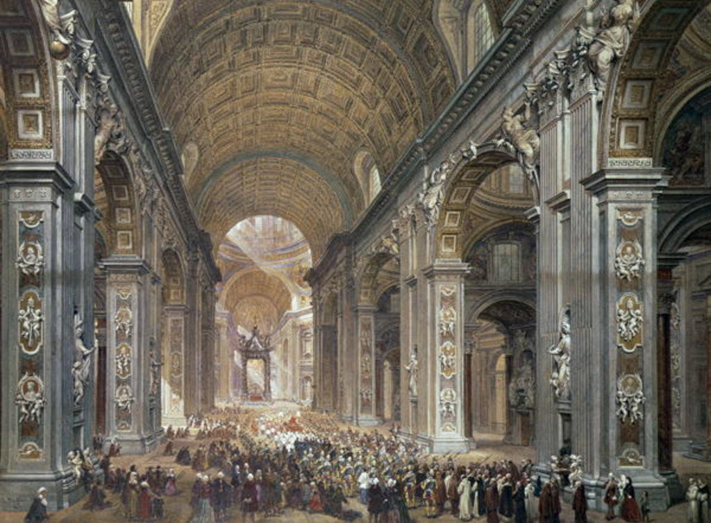 Detail of Interior of St. Peter's, Rome by Louis Haghe