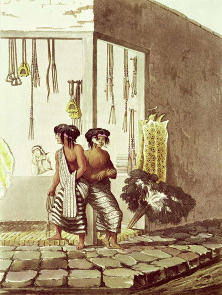 Detail of Pampa Indians at a Store in the Indian Market of Buenos Aires by Illustrations of Buenos Aires and Montevideo'