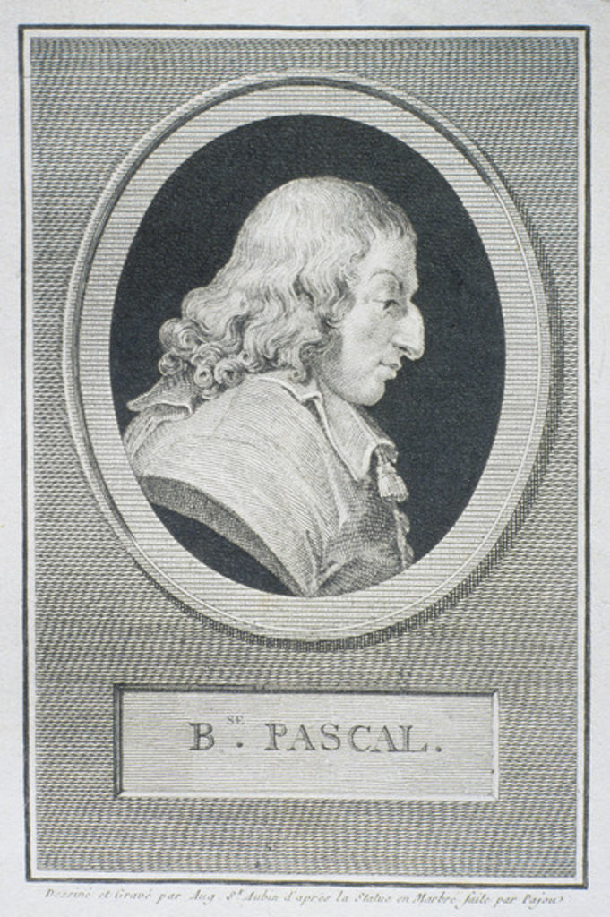 Detail of Blaise Pascal by Augustin de Saint-Aubin