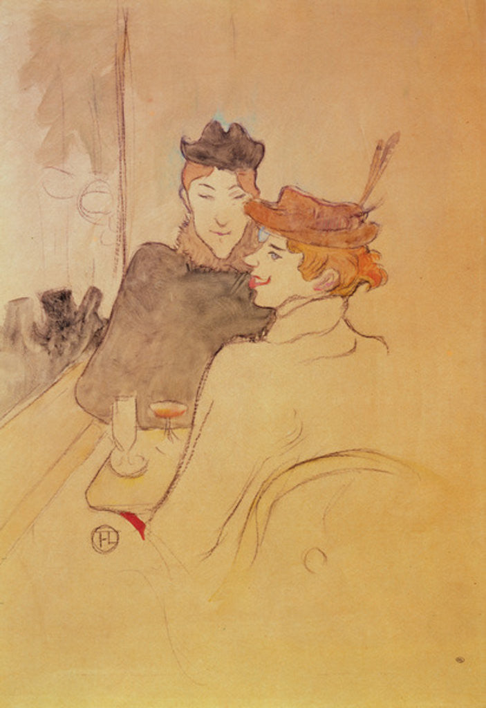 Detail of Two women sitting in a cafe by Henri de Toulouse-Lautrec